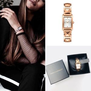 REBECCA MINKOFF MOMENT ROSE GOLD STUD WATCH